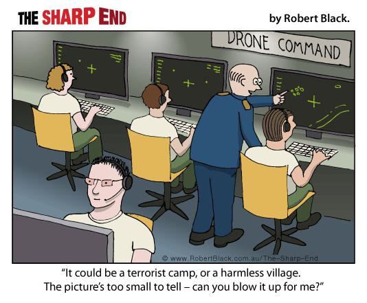 Caption: It could be a terrorist camp or a village.  The picture's too small to tell - can you blow it up for me?